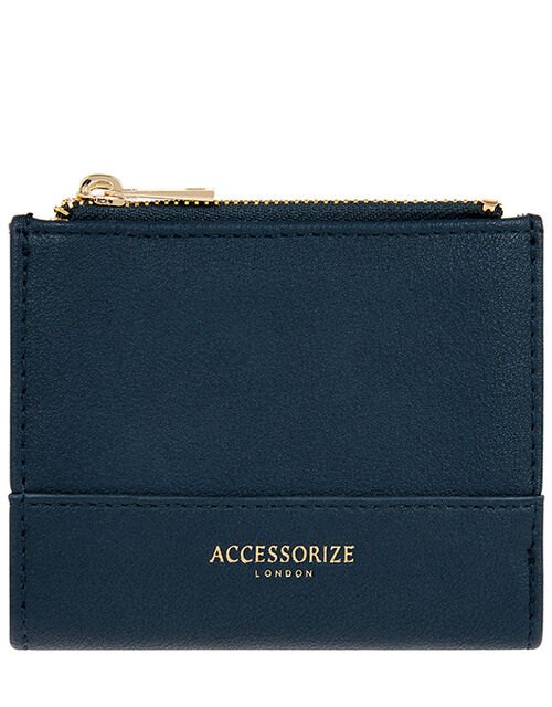 Bella Double Zip Wallet, Blue (NAVY), large