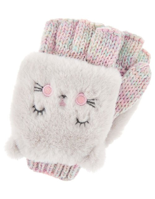 Fluffy Cat Capped Gloves, Multi (PASTEL-MULTI), large
