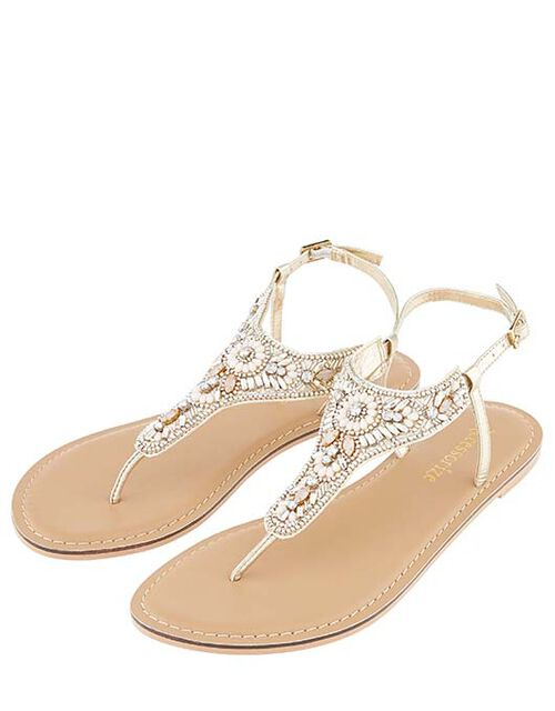 Athens Embellished Sandals, Metalic (METALLICS), large