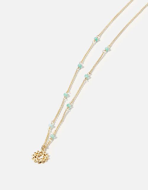 Beaded Heart Chakra Pendant Necklace, , large