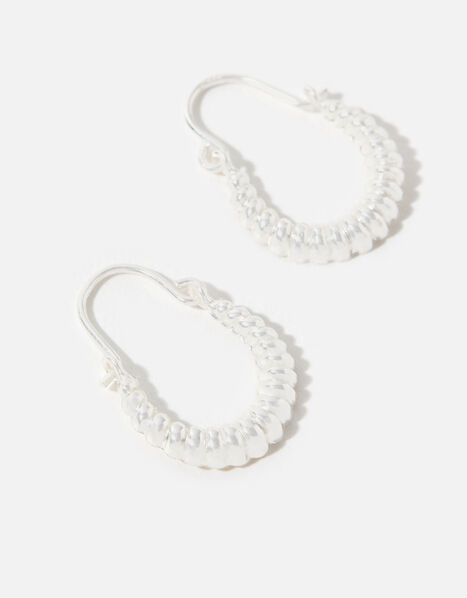 Sterling Silver Cut-Out Mini Hoops, , large