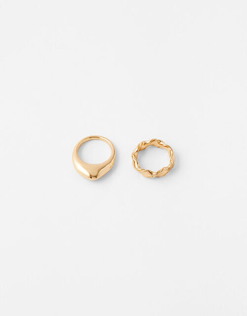 Organic Chunky Ring Set with Recycled Metal, Gold (GOLD), large