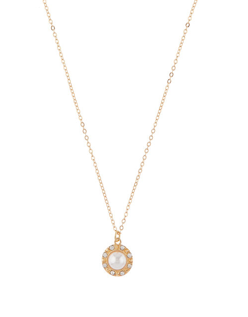 Pearl and Pavé Pendant Necklace, , large