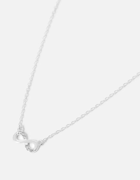 Sterling Silver Infinity Necklace, , large