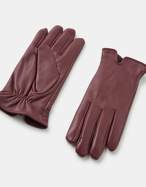 Basic Leather Gloves, Red (BURGUNDY), large