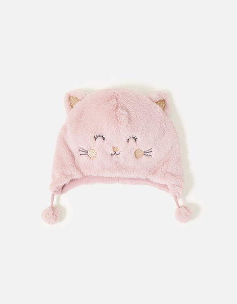 Girls Fluffy Cat Chullo Hat Pink, Pink (PINK), large