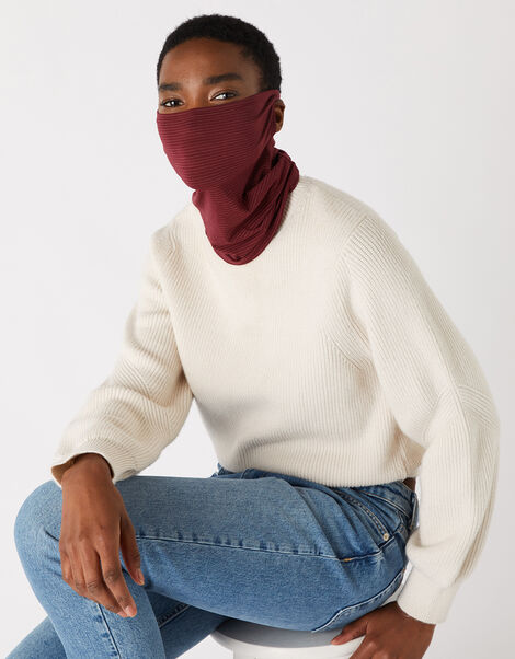 Antibacterial Snood Face Covering Red, Red (BURGUNDY), large