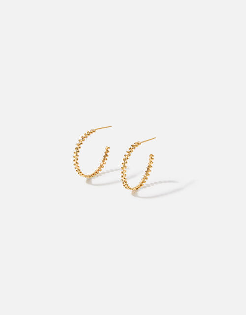 Gold-Plated Bobble Hoop Earrings, , large