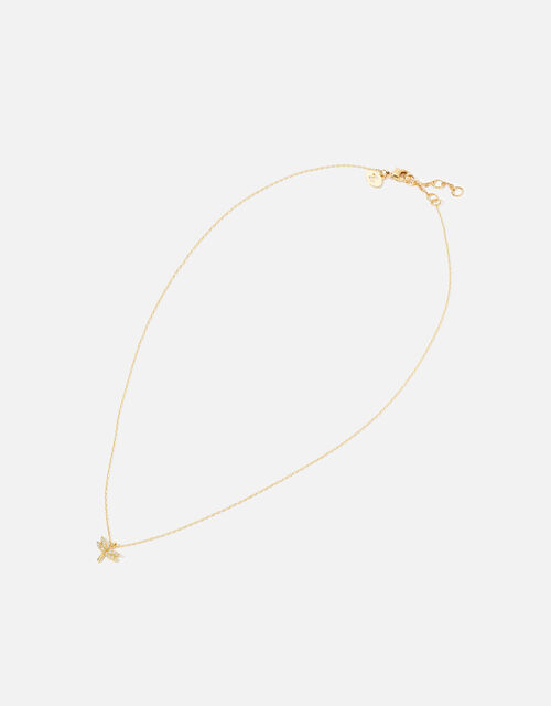 Gold-Plated Dragonfly Pendant Necklace, , large