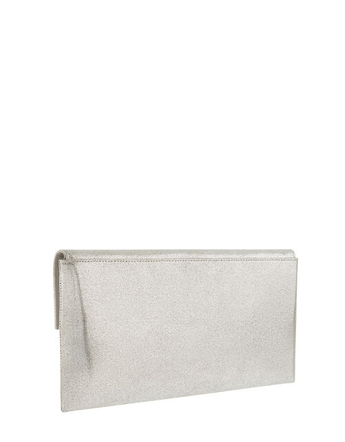Natalie Metallic Envelope Clutch with Strap, Silver (SILVER), large