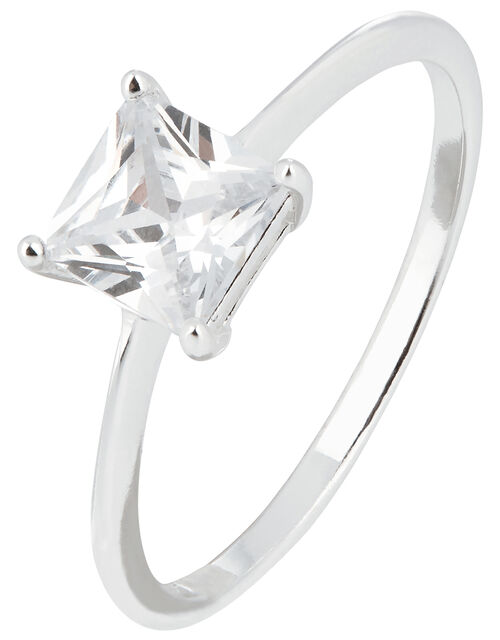 Sterling Silver Princess Cut Solitaire Ring, White (ST CRYSTAL), large