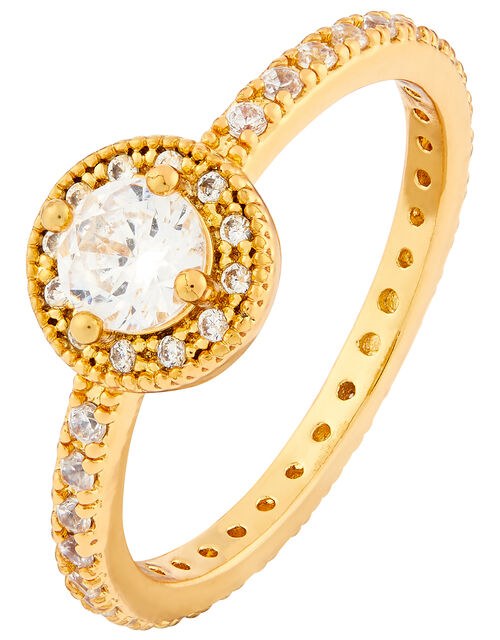 Gold-Plated Pave Halo Ring, Gold (GOLD), large