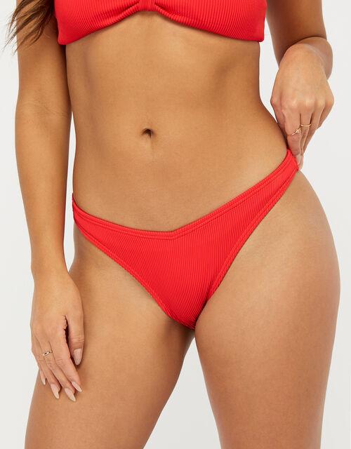 Basic Ribbed V Bikini Briefs, Red (RED), large