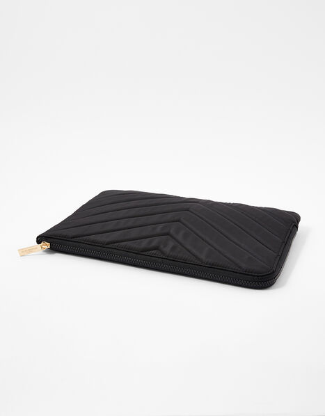 Quilted Nylon Laptop Case Black, Black (BLACK), large