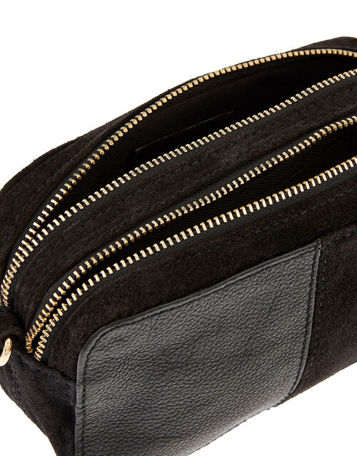 Macy Suede and Leather Cross-Body Bag, Black (BLACK), large