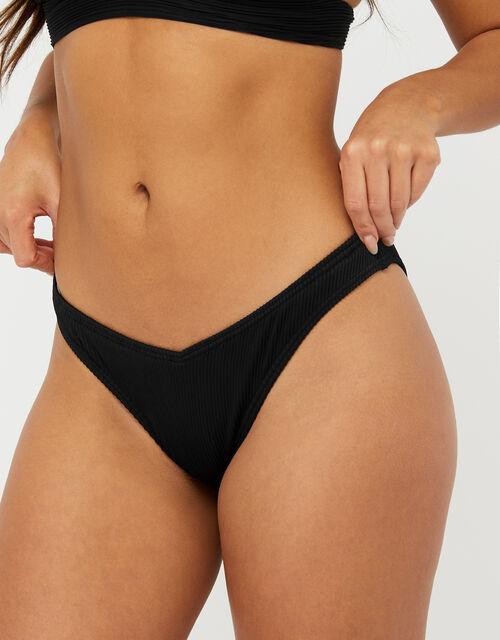 Basic Ribbed V Bikini Briefs, Black (BLACK), large