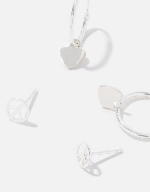 Sterling Silver Stud and Hoop Twinset, , large