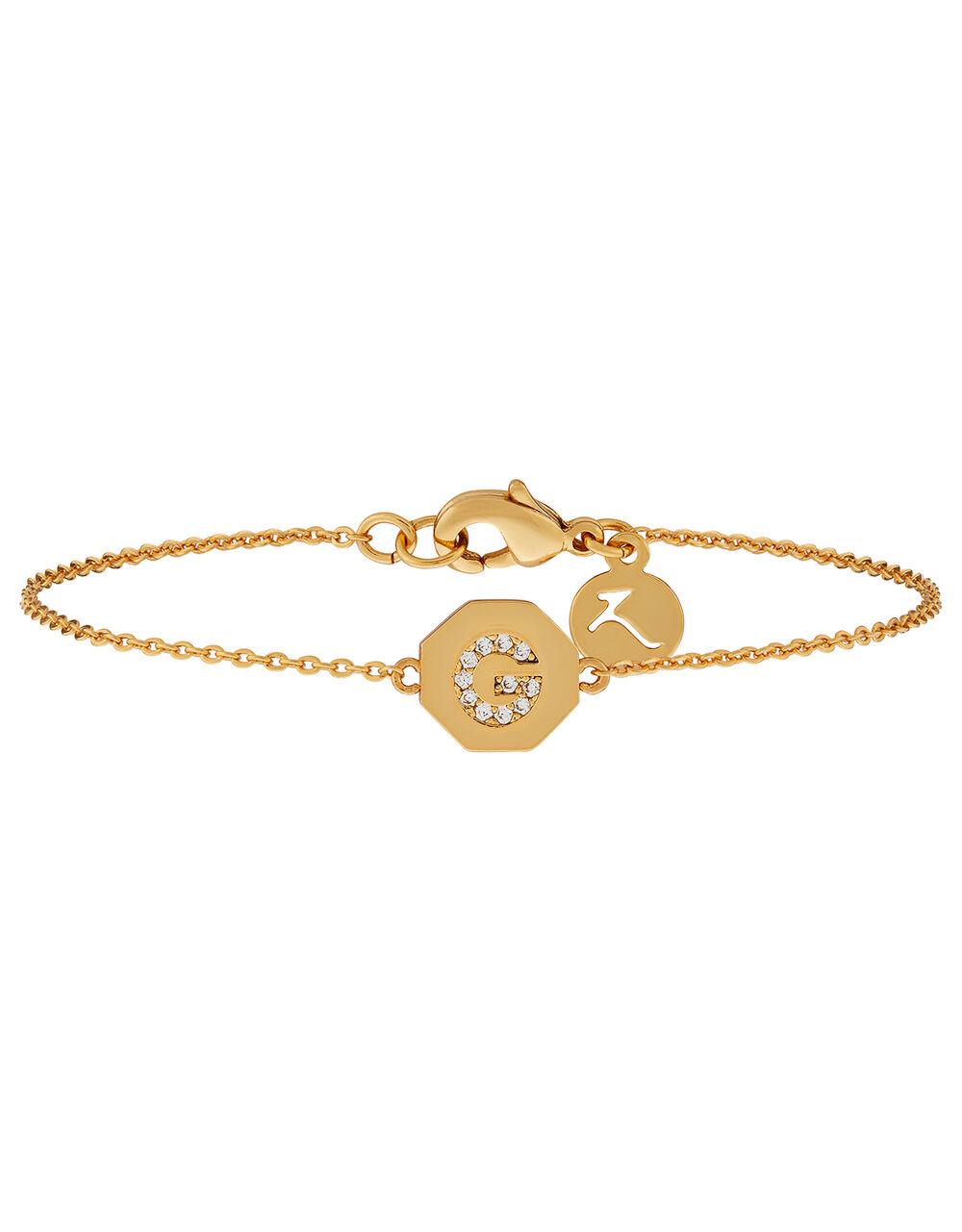 G Initial Hexagon Bracelet, , large