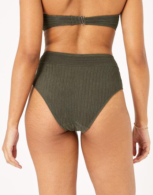 High Waist Bikini Briefs, Green (KHAKI), large