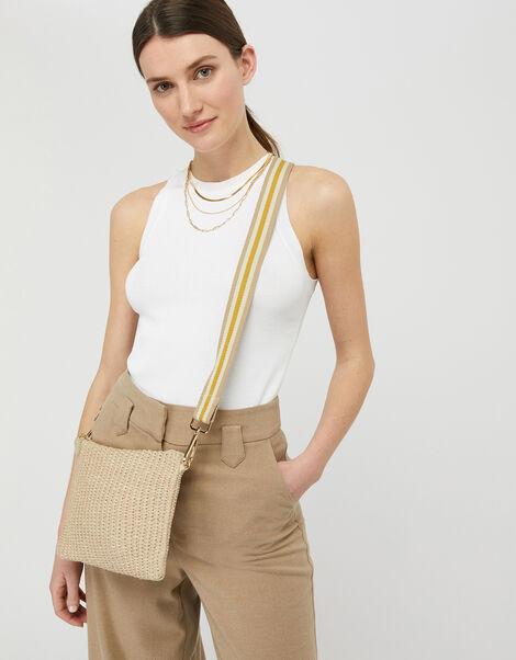 Raffia Stripe Strap Bag, , large