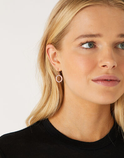 Rose Gold-Plated Pave Circle Drop Earrings, , large