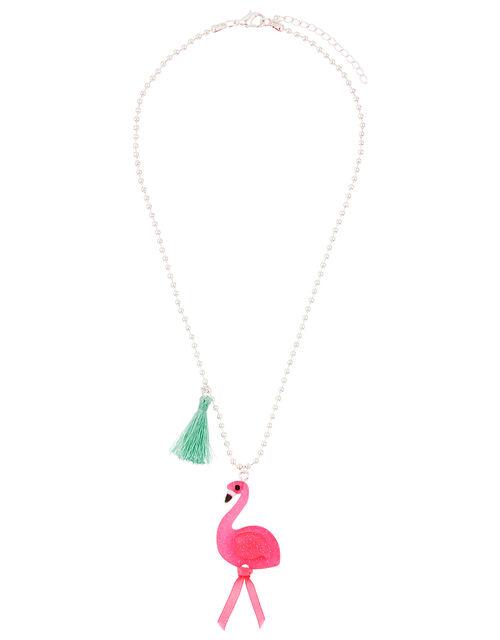 Flora Flamingo Tassel Necklace, , large