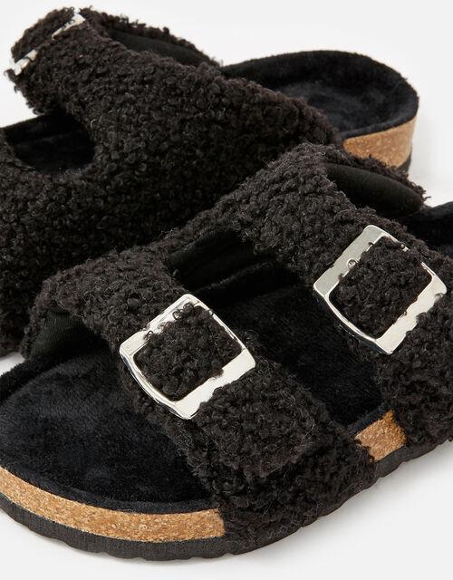 Buckle Footbed Borg Slippers, Black (BLACK), large