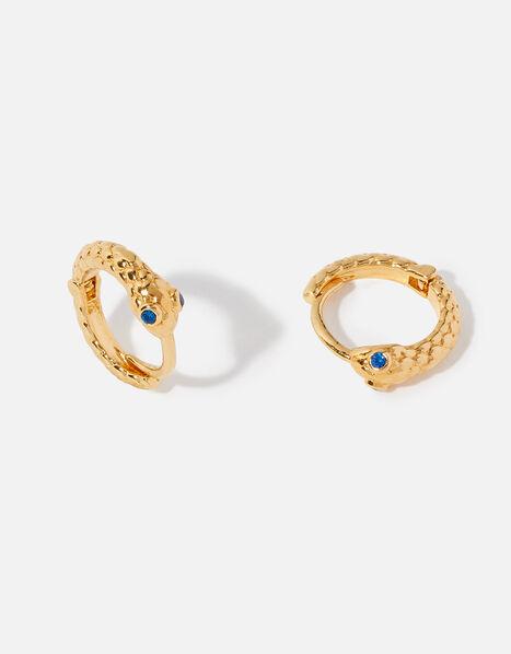 Gold-Plated Snake Hoop Earrings, , large