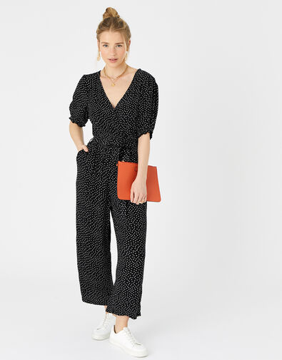 Spot Wrap Jumpsuit in LENZING™ ECOVERO™  Black, Black (BLACK/WHITE), large