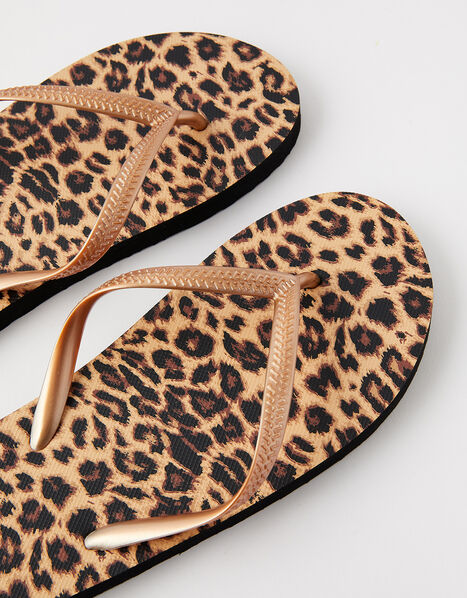 Leopard Print Flip Flops Multi, Multi (DARKS-MULTI), large
