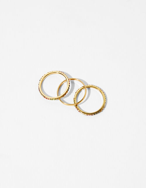 Gold-Plated Rainbow Ring Set, Gold (GOLD), large