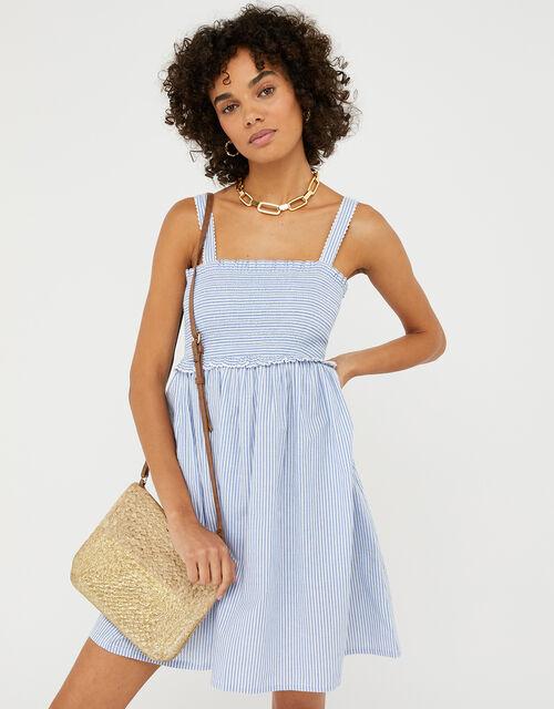 Striped Bandeau Beach Dress in Pure Cotton, Blue (BLUE), large