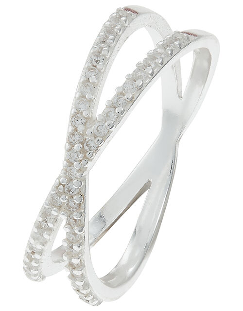 Sterling Silver Pave Cross Ring, White (ST CRYSTAL), large