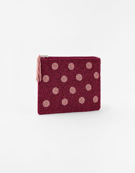 Beaded Spot Pouch Bag Red, Red (BERRY), large