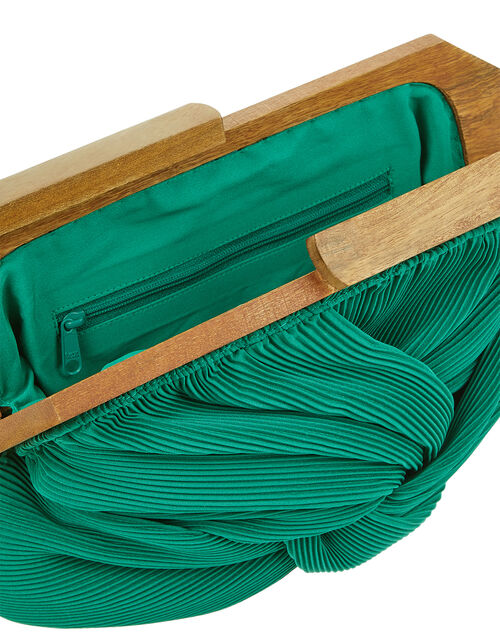 Brooke Pleated Clutch Bag with Wooden Frame, Green (GREEN), large