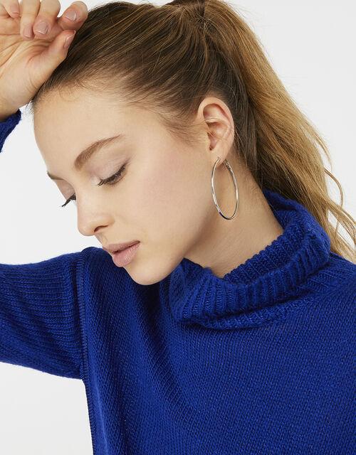 Medium Simple Hoop Earrings, Silver (SILVER), large
