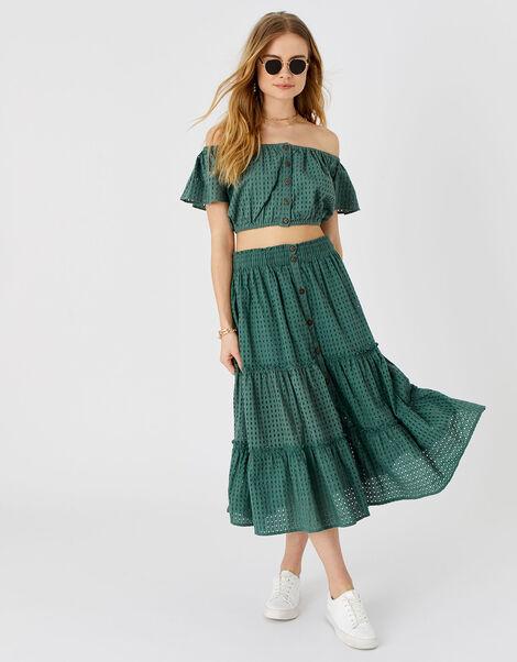 Broderie Bardot Top Green, Green (KHAKI), large