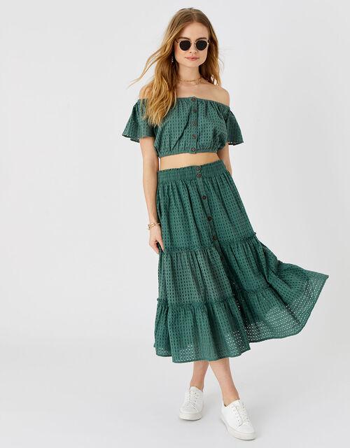 Broderie Bardot Top, Green (KHAKI), large