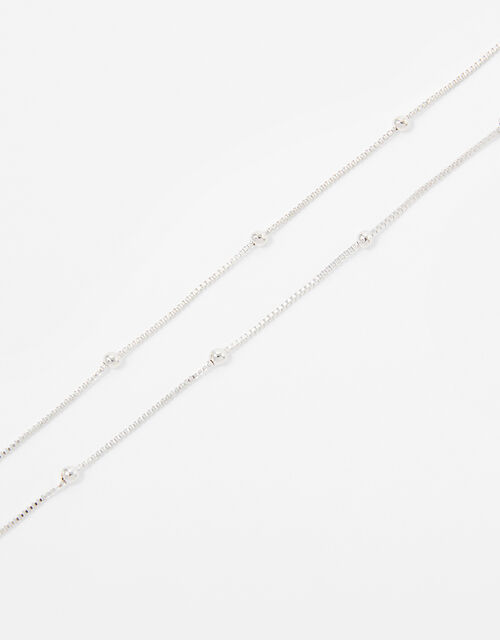 Beaded Chain Necklace, Silver (SILVER), large