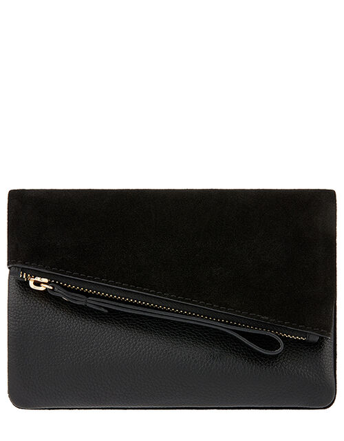 Leather Foldover Pouch, Black (BLACK), large