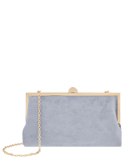 Suedette Clipframe Clutch Bag, Blue (BLUE), large