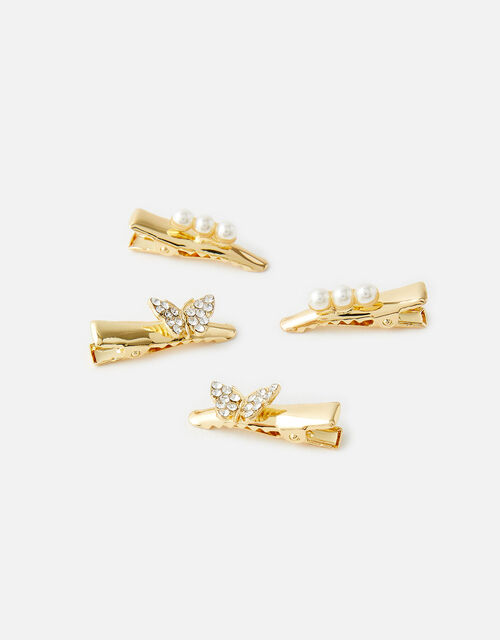 Butterfly and Pearl Salon Clip Set, , large