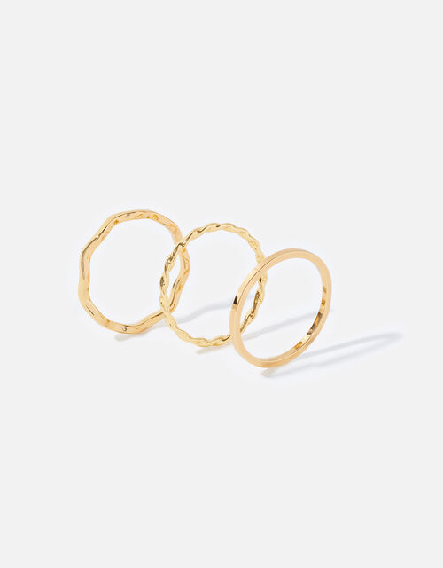 Gold-Plated Slim Ring Set, Gold (GOLD), large