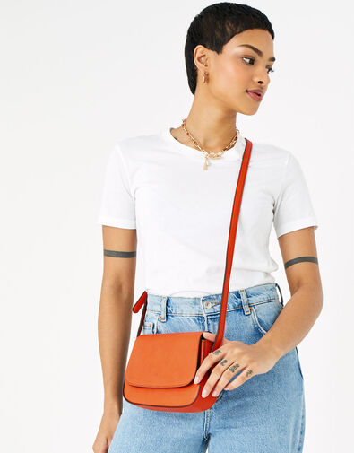 Ruby Saddle Cross-Body Bag  Orange, Orange (ORANGE), large