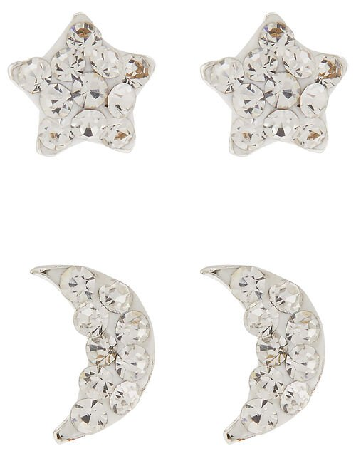 Sterling Silver Star and Moon Stud Earring Set, , large