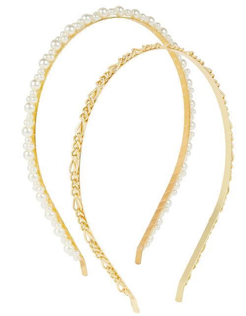 Pearl and Chain Headband Set, , large