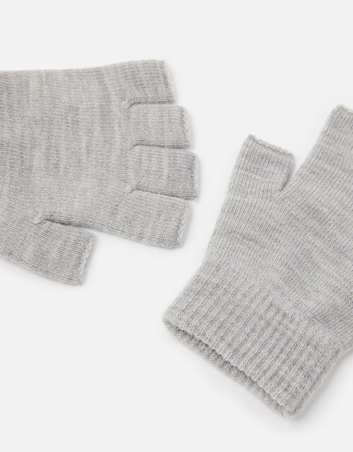 Plain Fingerless Gloves, Grey (LIGHT GREY), large