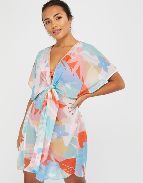 Palm Print Beach Kaftan in Recycled Polyester, Blue (BLUE), large