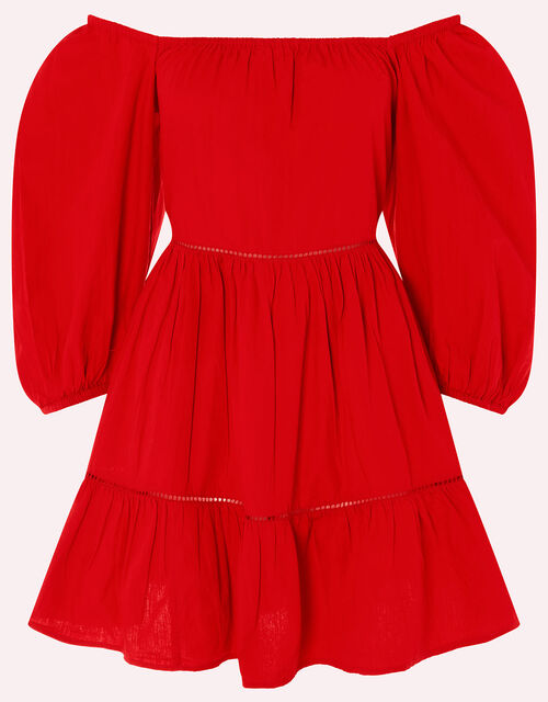 Puff Sleeve Poplin Dress, Red (RED), large