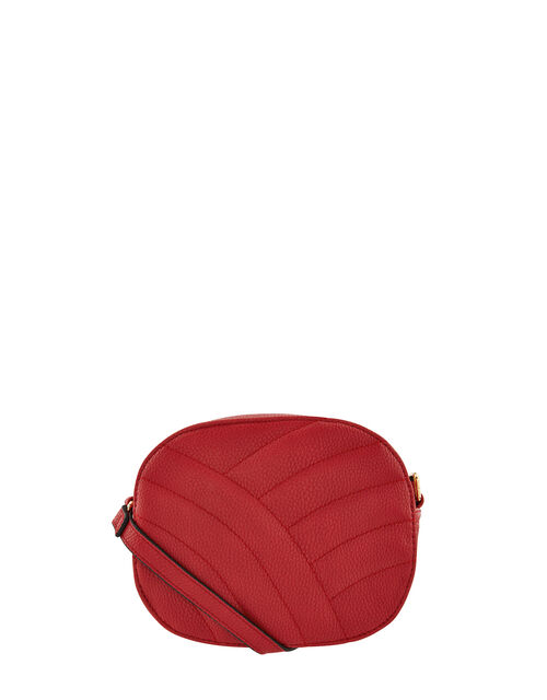 Quilted Faux Leather Cross-Body Bag, Red (RED), large